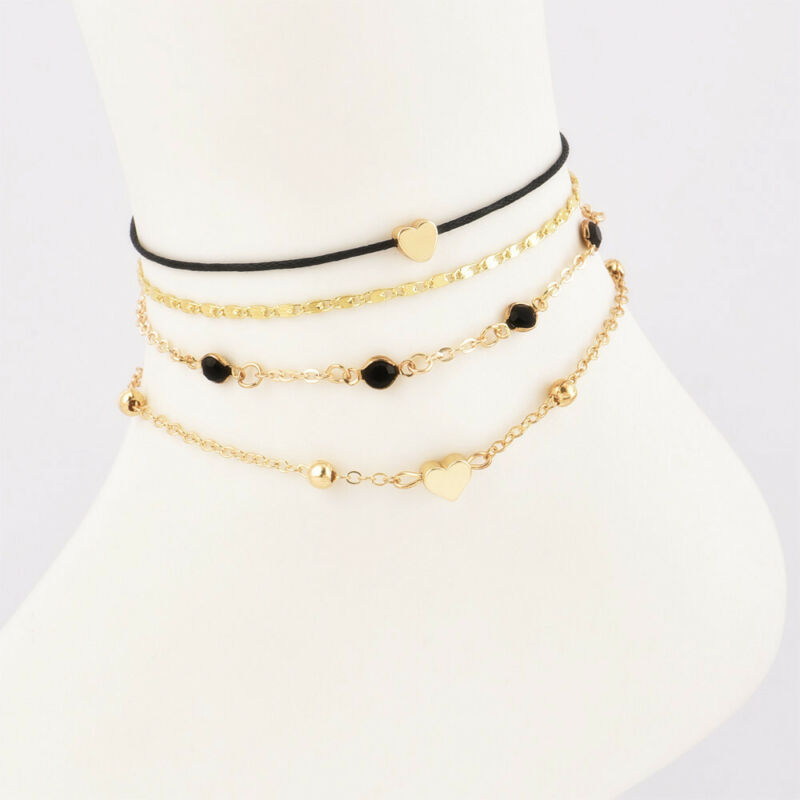 4Pcs/pack Women Jewelry Gold Plated Heart Beads Ankle Chain