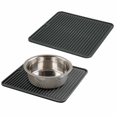 mDesign Silicone Pet Food/Water Bowl Feeding Mat for Dogs, Medium, 2 Pack, Black