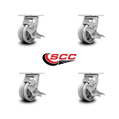 Scc 4 X 2 V Groove Semi Steel Wheel Swivel Casters Wbrakes - Set Of 4