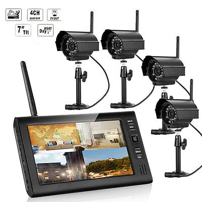 """Wireless 7"""" TFT LCD 2.4G Quad 4CH Sunset Vision Camera CCTV Security System Video"""