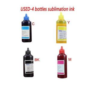 USED 4 bottles Sublimation Ink C M Y BK for Sublimation heat press transfer Printing Crafts