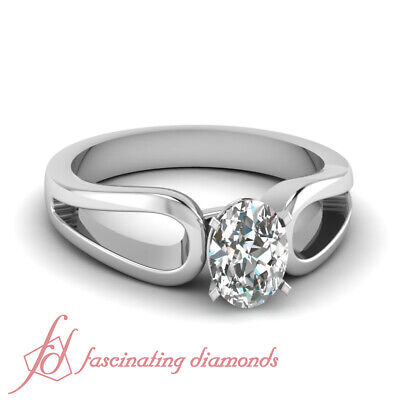 Solitaire Diamond Engagement Ring 0.70 Ct Oval Shaped SI2-D Color GIA Loop Duet