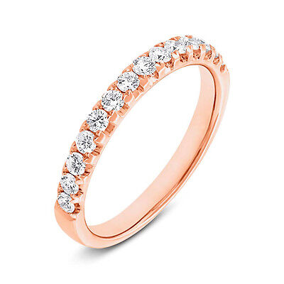 Womens 0.50CT 14K Rose Gold Brilliant Round Cut Diamond Wedding Band Ring Size 7