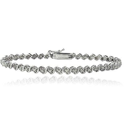 925 Silver 1/4ct TDW Natural Diamond S Design Tennis Bracelet