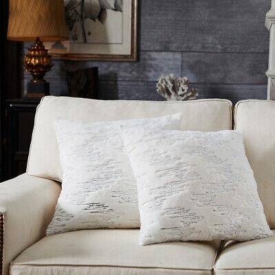 Faux Fur Pillow Cover - Soft Plush Faux Fur Throw Pillow Case Comfortable Stripe Sequins Cushion Cover