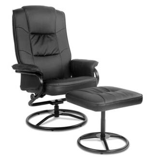 PU Leather Recliner Chair and Footrest[OCHAIR-90054-BK]