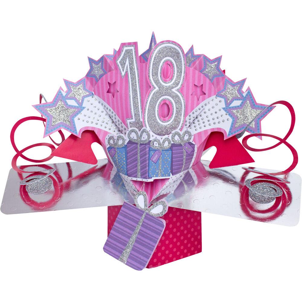 Pop Up 3 D Luxus Grusskarte Happy Birthday Karte mit Glitzer zum 18. Geburtstag