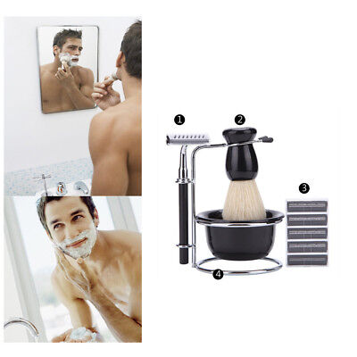 Shaving Brush Set Stainless Steel Shaving Stand and Soap Cup Kit Perfect for Men