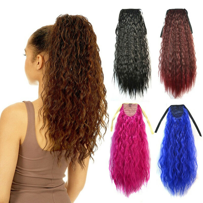 24inch Womens Long Kinky Curly Wavy Wig Drawstring Ponytail