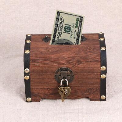 Wooden Pirate Treasure Chest Vintage Money Storage Box Case Piggy Bank w/Lock