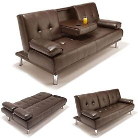 Brand New 3 Seater Manhattan Black / Brown Leather Sofa Bed with Cupholders, Cinema Style Sofabed