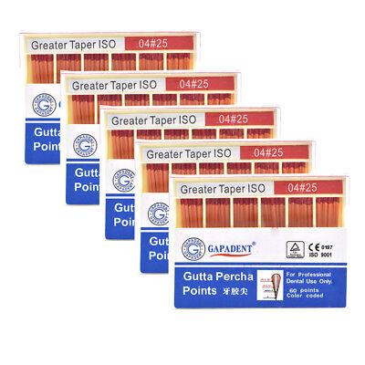 5x Dental Gutta Percha Point 0.04 25 Zinc Oxide Barium Sulfate 60 Pointsbox