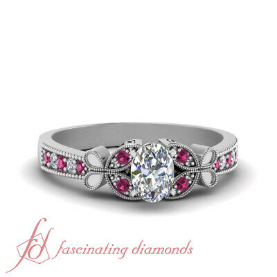 3/4 Carat Oval Shaped Diamond And Pink Sapphire Nature Inspired Engagement Ring