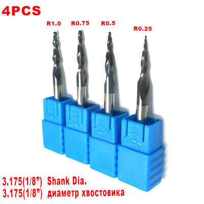 4pcs Carbide Tapered Ball Nose 0.25-1.0mm End Mill Milling Cutter 18 Shank Set