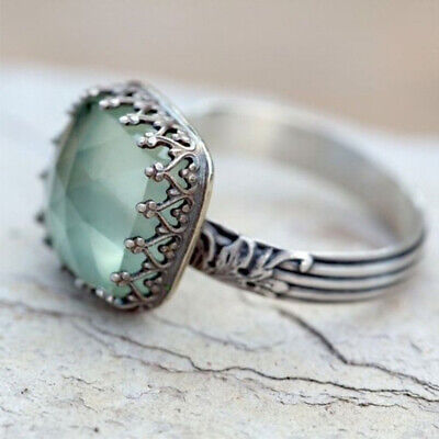 Vintage 925 Sterling Silver Ladies Green Moonstone Square Stone Gemstone Ring