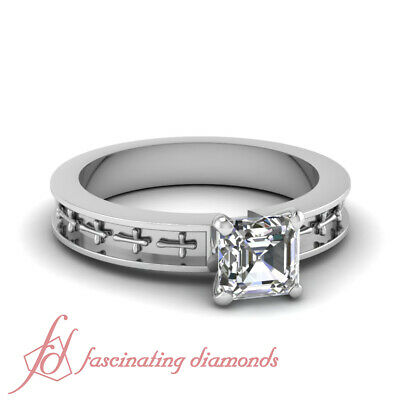 Solitaire Diamond Victorian Design Rings With 1 Carat Asscher Cut In Center  GIA