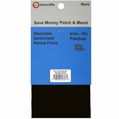 Iron-On Mending Fabric Repair Patch 6.5 x 14 Inch Compare to Bondex - Black