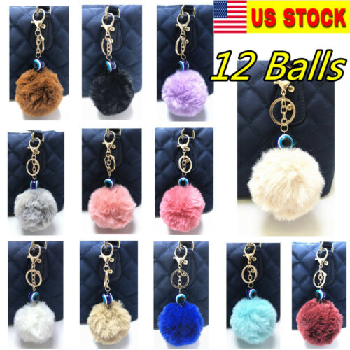 12PC Faux 8CM Rabbit Fur Pom Poms Ball Key Chain Hand bag Car Charm 12 Colors