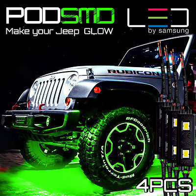 LED 4X4/OFF ROAD/JEEP Under Body Rock Lights Ultra Bright Green!