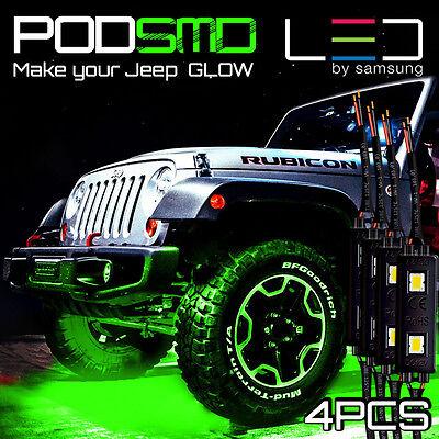 Green LED ATV OFF ROAD Underbody JEEP Underglow Rock Neon Light Pods 4pc Trucks