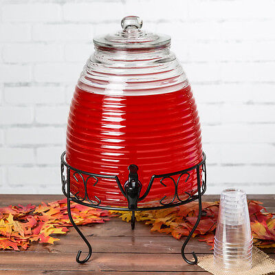 - 2.4 Gallon Beehive Glass Beverage Dispenser with Black Metal Stand