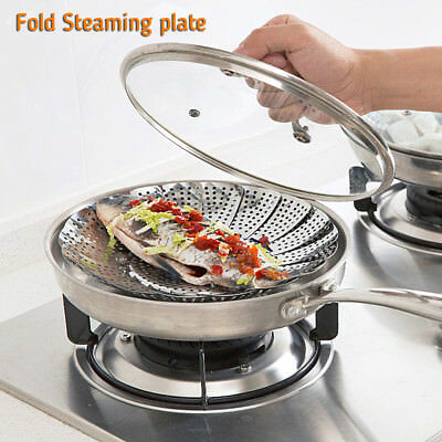 Vegetable Steamer Food Basket Bowl Cooker Strainer Stainless Folding Mesh Dish