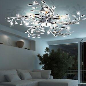 LED 15 Watt Decken Lampe Ess Zimmer Blätter Leuchte Chrom Blüten Beleuchtung E14