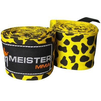"LEOPARD SPOTS 180"" SEMI-ELASTIC HAND WRAPS Meister MMA Handwraps Mexican Boxing"