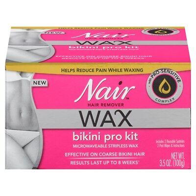 Nair Wax Bikini Pro Kit Microwavable Stripless Wax Hair Remover - 3.5 oz