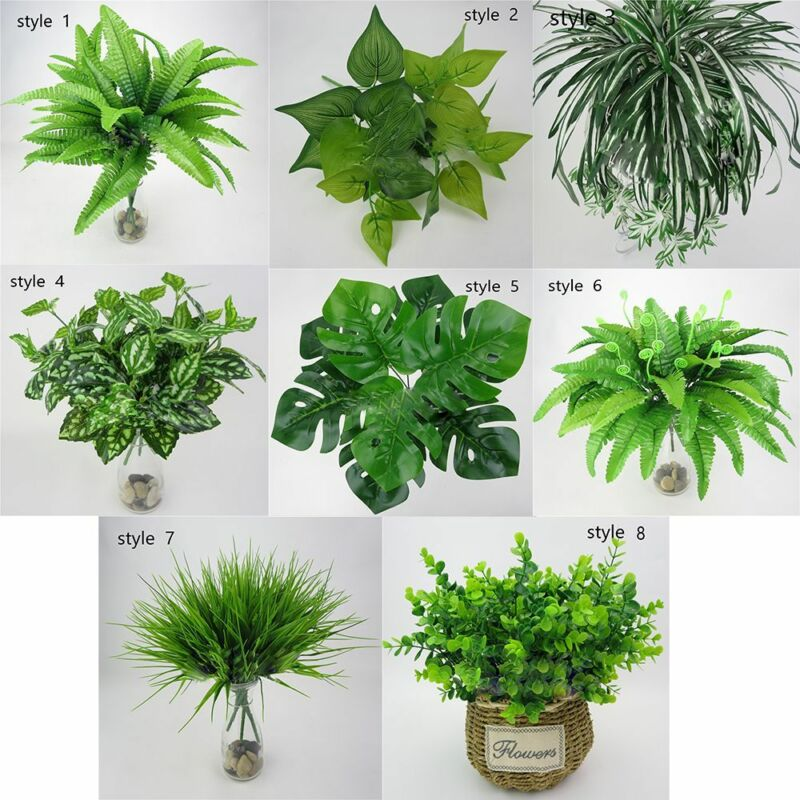 Artificial Plants Fake Leaf Foliage Bush Home Garden Indoor