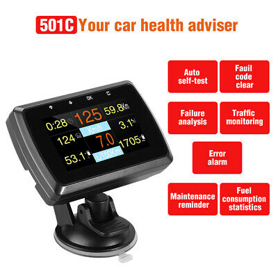 HUD Display OBD2 Digital Meter Fuel Consumption Speedometer Diagnostic Scan Tool
