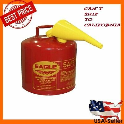 5 Gallon Safety Gas Can Eagle Ui-50-fs Red Galvanized Steel Type I Funnel