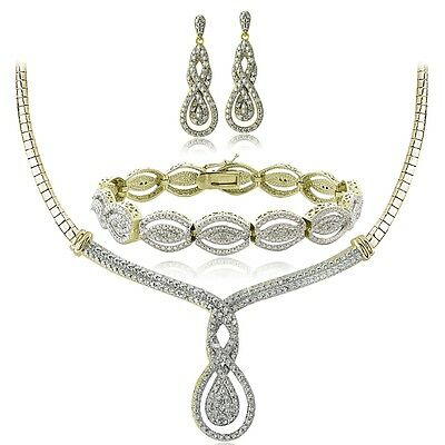 3/4 Ct Diamond Intertwining Infinity Necklace, Bracelet, Earrings Set - Gold Ton