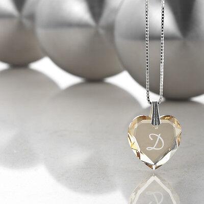 """Kinderkette 925 Silber mit Swarovski Herz und Buchstabengravur """" D """""""