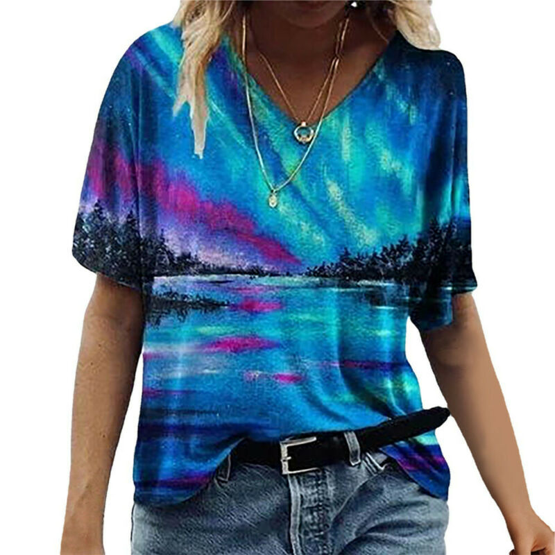 Women Summer Loose T-shirt Short Sleeve V-neck Tops Casual Blouse Tee Plus Size Clothing, Shoes & Accessories