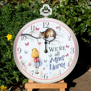 Alice in Wonderland Clock, Cheshire Cat Girls wall clock, We're all mad here!