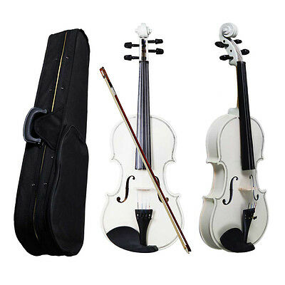 Hot Sale Perfect 4/4 Size Acoustic Violin with Case Bow Rosin White