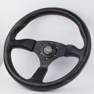 14inch 350mm JDM Spoon Black Deep Dish Leather Racing Sport Steering Wheel  350mm Sport Leather Steering Wheel