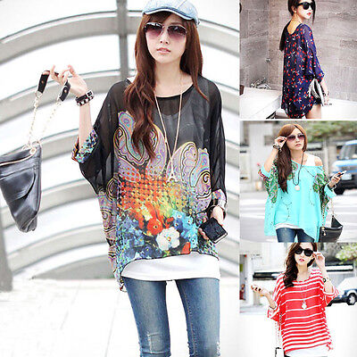 Women Bohemia Style Oversized Blouse Chiffon Casual Loose T-Shirt Loose Tops  mt