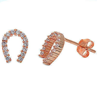 Gold Plated Sterling Silver Horseshoes (Rose Gold Plated Cz Horse Shoe .925 Sterling Silver Earrings )
