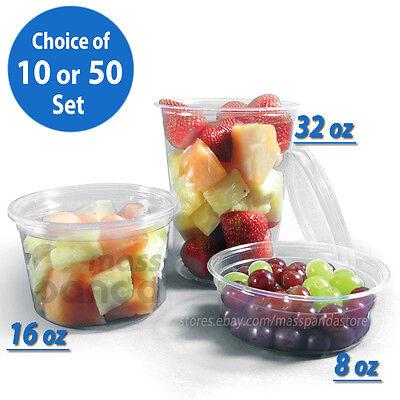 16 Ounce Plastic Lid - 8oz 16oz 32oz Round Deli Food/Soup Container Cups w/ Lids Clear Plastic BPA free