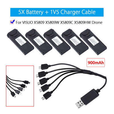 5x 3.7V 900mAh Replace Battery+1V5 Charger For VISUO XS809HW Quadcopter RC Drone