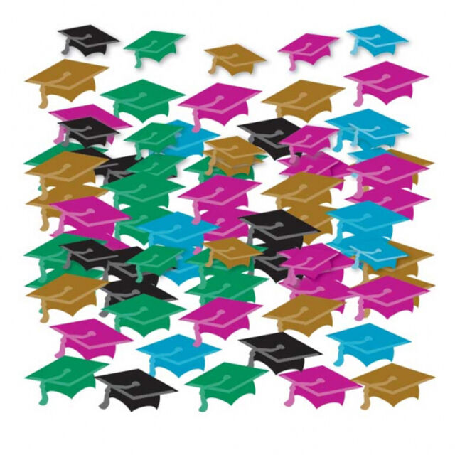 Graduation Table Confetti Party Table Decorations Multi Colour Mortar Boards