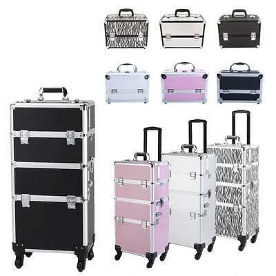 3/4in1 Aluminum Rolling Makeup Trolley Train Beauty Case Box Organizer Cosmetic Health & Beauty