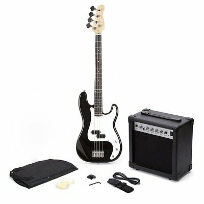PB Precision Style Black 4 String Electric Bass Guitar & 15W Amp