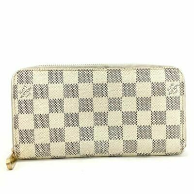 100% Auth Louis Vuitton Damier Azur Zippy Zip Around Long Wallet purse