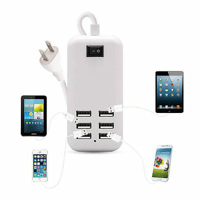 30W Multi-USB Port 6 Port Wall Charger AC Power Adapter For USB-Powered Devices ()