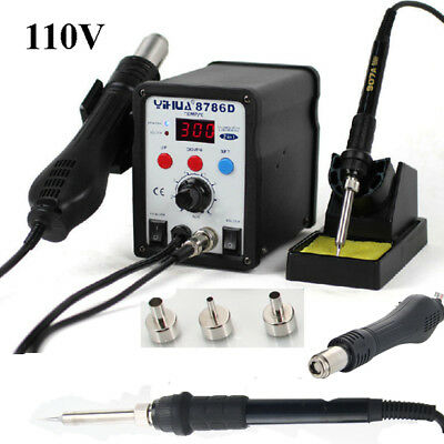 8786D 2In1 Soldering Rework Station Esd Iron Welder Gun Hot Air Gun Desolder Smd