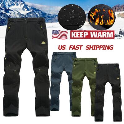 Men's Outdoor Hiking Ski Pants Fleece Lined Waterproof Sport  Trekking -