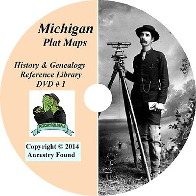 105 books - 4,206  MICHIGAN Plat Maps & Atlas - County, Township, City - map DVD